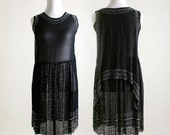 Vintage 1920s Dress - Black Beaded Cocktail Flapper Dress - Medium Evening Dress