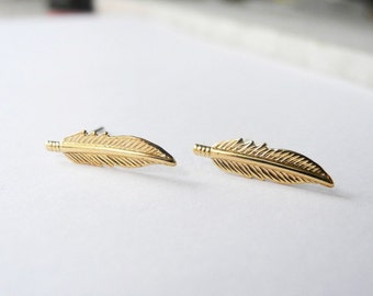 Feather Earrings, Boho Jewelry, Feather Jewelry, Golden Brass, Leaf Earrings, Boho Earrings, Sterling Silver Hypoallergenic Studs (E232)