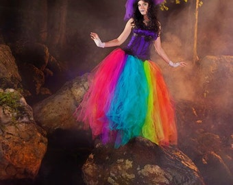 Rainbow tutu tulle skirt Streamer floor length formal pride fairytale wedding bridal costume carnival -You Choose Size- Sisters of the Moon
