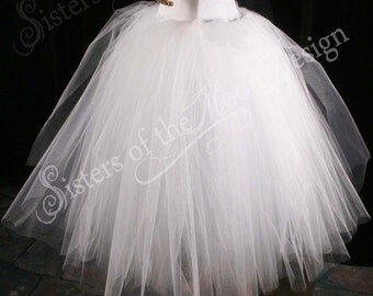 White Glimmer tulle skirt tutu floor length petticoat two layer dance formal ballet wedding bridal prom gypsy -All Sizes-Sisters of the Moon