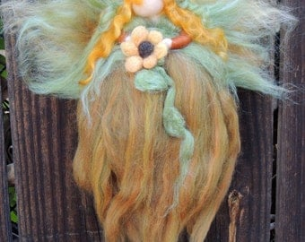 Sunflower Needle felted wool fairy angel Autumn Blossom Blessing Fairy Waldorf inspired by Rebecca Varon