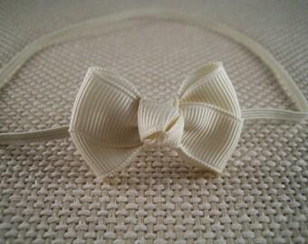 Ivory Baby Hair  Bow Headband -  Ivory headband  with Hair Bow - Infant Headband, Baby Headband, Skinny Elastic  Headband