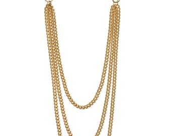 Gold Three Chain Necklace