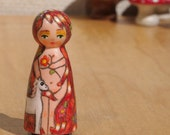 Tiny Muse Lady Godiva Wooden Peg Doll Green Eyes With White Horse