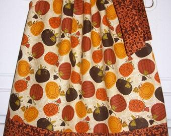 12m Dress Fall Dress Pillowcase Dress with Pumpkins Girls Dress Thanksgiving dress Autumn dress baby dress toddler dress infant dress