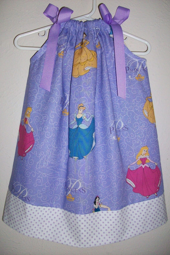 Pillowcase Dress Glitter PRINCESS Purple Cinderella Snow White Sleeping Beauty Belle baby toddler girl