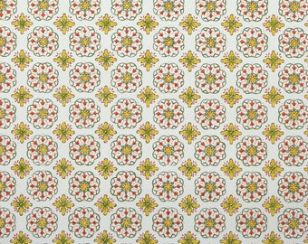 1950's Vintage Wallpaper - Golden Yellow Red and Green Geometric on White