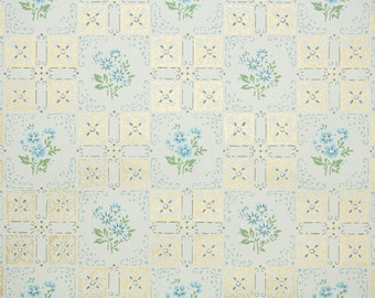 1950's Vintage Wallpaper -  Tiny Blue Flowers and Metallic Gold Geometric