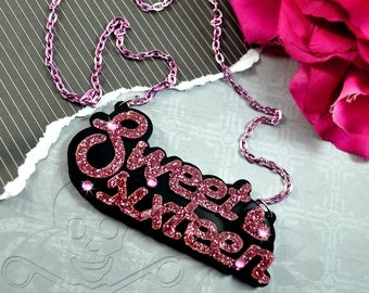 SWEET SIXTEEN - Laser Cut  Acrylic Necklace In Glossy Black and Pink Glitter with Rhinestones