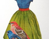 Bird Dress with Brooch. An Original Collage