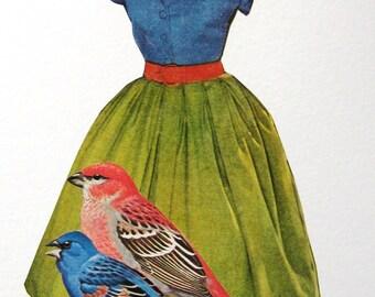 Bird Dress with Brooch. An Original Collage
