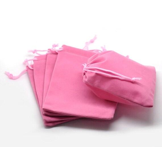 Velvet gift bag soft pink bags po
