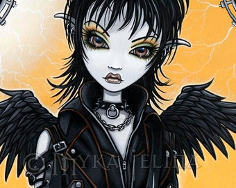 "Nika- 12""x24""  Original Acrylic Painting Gothic Angel Rocker Chic Fairy Guitar Musician Original Acrylic Painting"