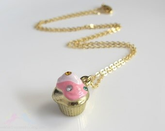 Sweet Kawaii Dessert. Strawberry Pink with White Whipped topping Cupcake 3D Metallic Pendant Charm with encrusted gems Necklace