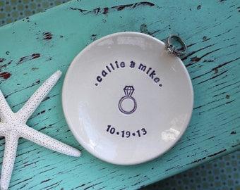 Custom Engagement Ring Dish, Custom Anniversary Celebration Dish, Engagement Ring Dish with Custom Design
