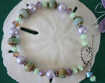 Purple & Green Bracelet, Crystal and Pearl Bracelet, Sterling Silver Bracelet, Pearl Bracelet, Crystal