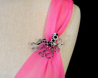 "An Octopus Love Affair Brooch - Small 2.5"" Ink Splatter Octopus Brooch  (C.A.B. Fayre Original Design)"