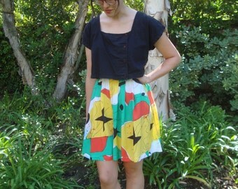 Vintage Abstract  Print Culottes XS/S