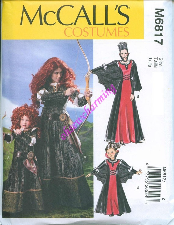 McCalls 6817 Brave Merida Sewing Pattern Costume Sizes S-M-L-XL Gown Medieval with Cape