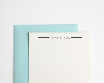Thank You Rubber Stamp, Ultra Minimal Modern Design (Wood Mounted) with optional wooden handle (S109) Perfect DIY Gift Idea