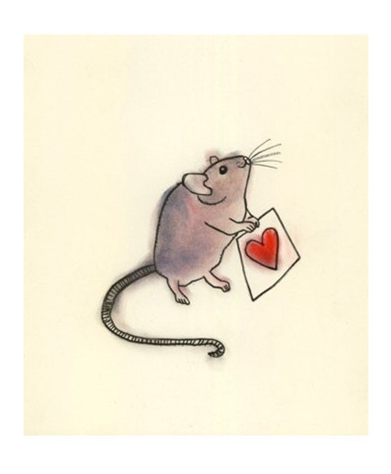 Valentine mouse art illustration   A Little Love -  4 X 6 print - 4 for 3 SALE