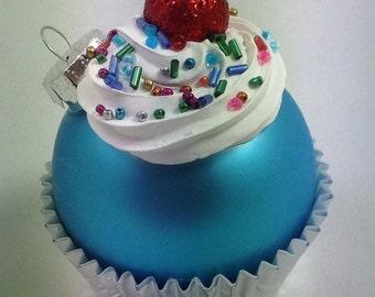 Cupcake Ornament - Matte Aqua