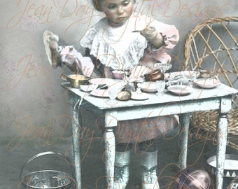 Little Gabrielle's Tea Party, Adorable Young French Girl, Doll - 1903 Instant Digital Download, coloured- Photo Scan FrA177