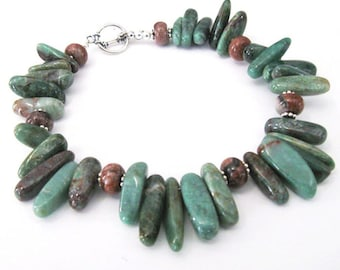 Green Jasper Points Bracelet with Red Jasper and Sterling Silver, Rustic Boho Bracelet, Forest Colors