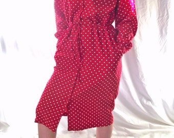 Vintage Shirt Dress - Draper's and Damon's - Red Polka Dot - Size 6