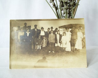 Antique RPPC -Effie and Charley Persinger - Group Photo - Model T Car - Postcard