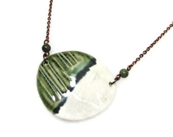 Handmade Jewelry Grass is Greener Unique Copper Necklace Ceramic Copper Green Stone Rustic Jewelry Bohemian Artisan Jewelry Design