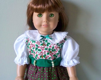 American Girl Doll clothes Christmas Holly doll dress fits 18 inch doll