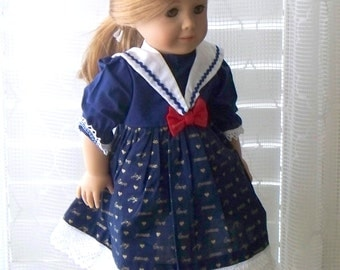 American Girl Doll Dress 18 inch doll dress Old fashioned Christmas Sailor dress