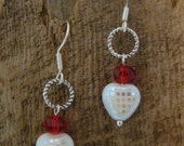 SALE Dainty Sweet Heart Earrings     Polished Czech and Red Crystal              1.99 SHIPPING USA