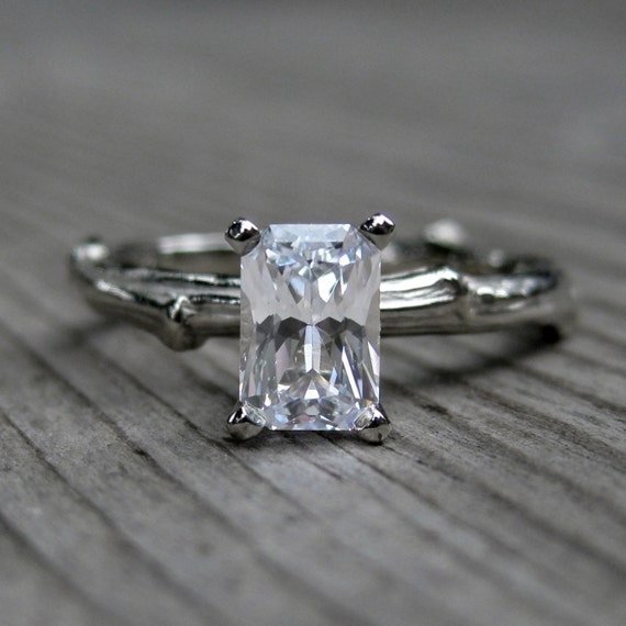 Emerald Cut White Sapphire Twig Ring in Gold