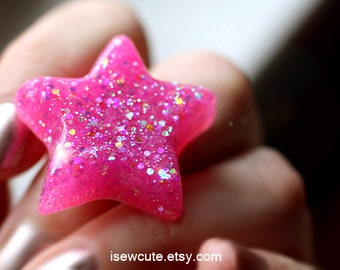 Resin Star Ring, Spectacular Pink Sparkly Ring, Glitter Star Ring Spring Jewelry Kawaii Star Adjustable Resin Star Ring Handmade by isewcute