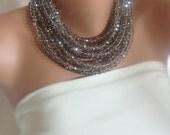 Brides necklace, Crystal  bridal necklace, Bib Necklace Bold  Chunky Statement, wedding jewelry,smoky gray