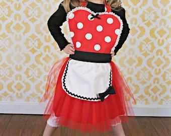 MINNIE MOUSE apron kids TUTU Dress up apron red  Polka Dots