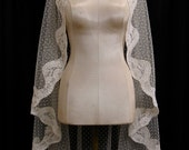 Ivory Swiss Dot Mantilla Veil With Light Ivory Alencon Lace And Crystals