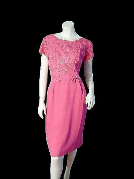 Sparkly Vintage 50's Rhinestone & Lace Cocktail Dress M