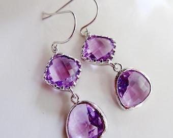 Purple Teardrop Earrings, Silver Earrings, Lavender, Colorblock Earrings, Two Tier, Lavender Earring, Modern, Bridesmaid Earrings