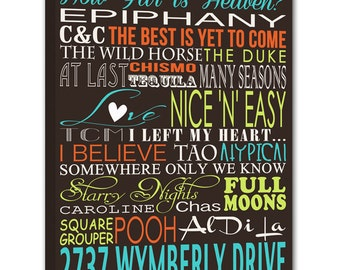 """Family Name Sign, personalized gift for HOME, for dad, """"ELITE"""" Series Word Art Canvas art personalized Words and phrases wall art  18X24"""