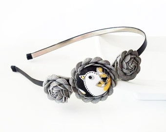 Country Bird - HEADBAND - ric rac rosettes, covered button - gray, black, white, yellow