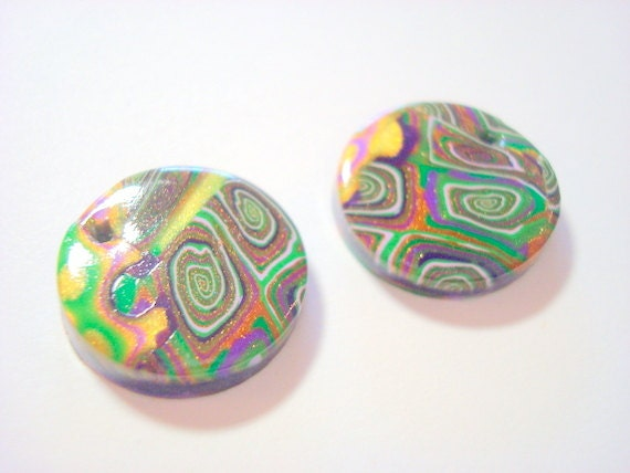 Mardi Gras Handmade Polymer Clay 20 mm Focal Beads