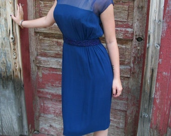Vintage 50s 60s Cocktail Dress / Navy Aurora Borealis  Beading / Navy Silk Chiffon / S M
