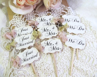 Wedding Cupcake Toppers Party Picks - Bridal Mix - Just Married We Do Mr. & Mrs. - Set of 12 or 18 - Choose Ribbons - Rustic Vintage Style