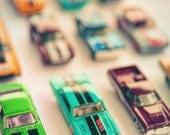 Vintage Toy Car Photography - still life photography - Teal Cars - Nursery Decor - Boys Room wall art - 8x10 photograph