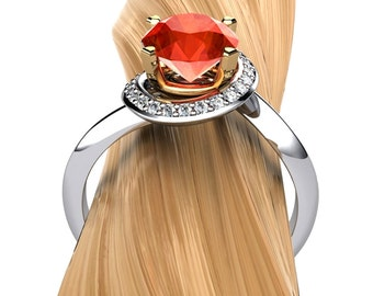Spessartite Garnet Ring, Spiral Halo with Diamonds in Palladium and 18k Gold - Free Gift Wrapping