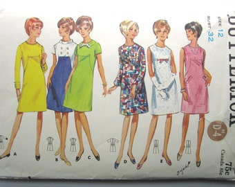"""Vintage Sewing Pattern 1960's Ladies' A-Line Dress Bust 32"""" Butterick 4348 - With FREE Pattern Grading E-book"""