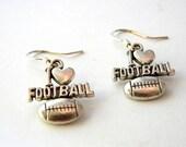 I Love Football Earrings Silver Color Dangle Earrings